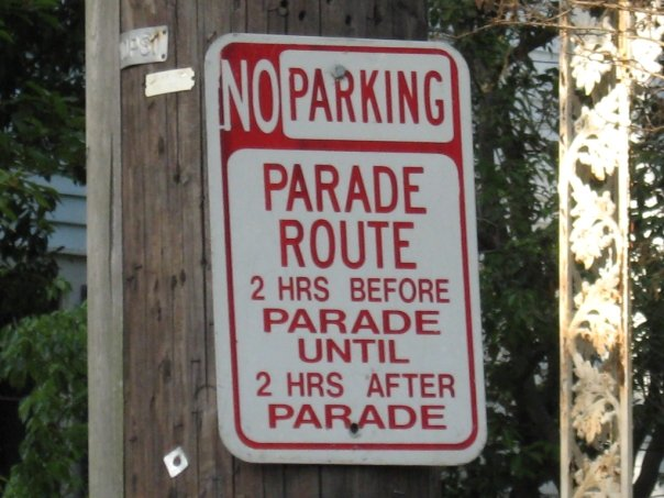 New Orleans has so many parades, the city has posted permanent signs.