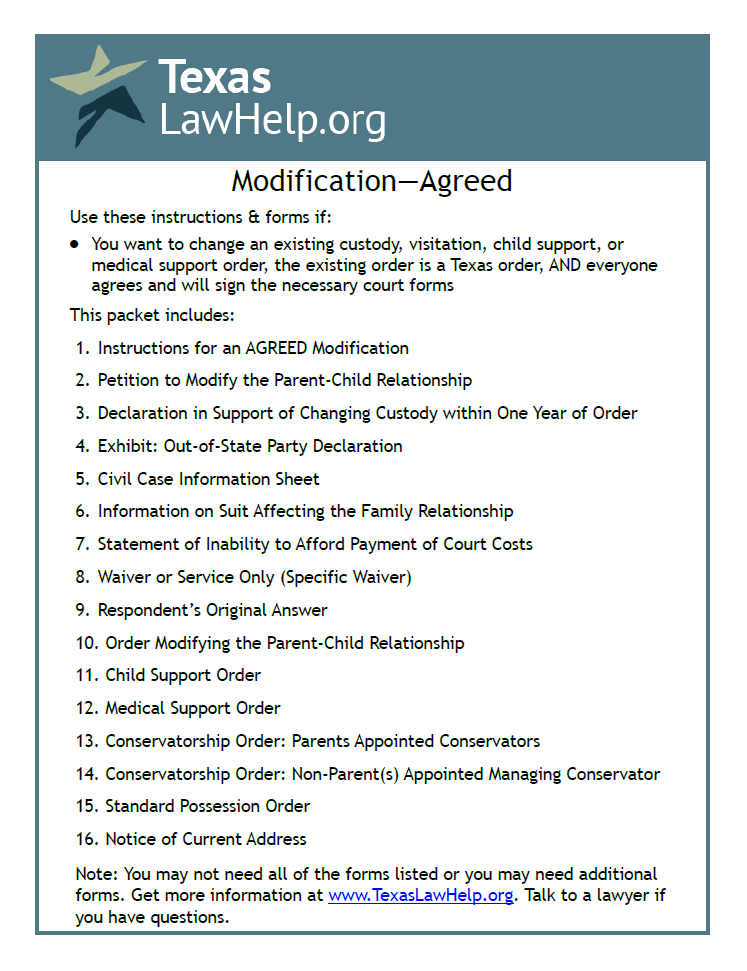 Click to view the Modification of Child Custody, Visition, Support - Agreed packet from TexasLawHelp