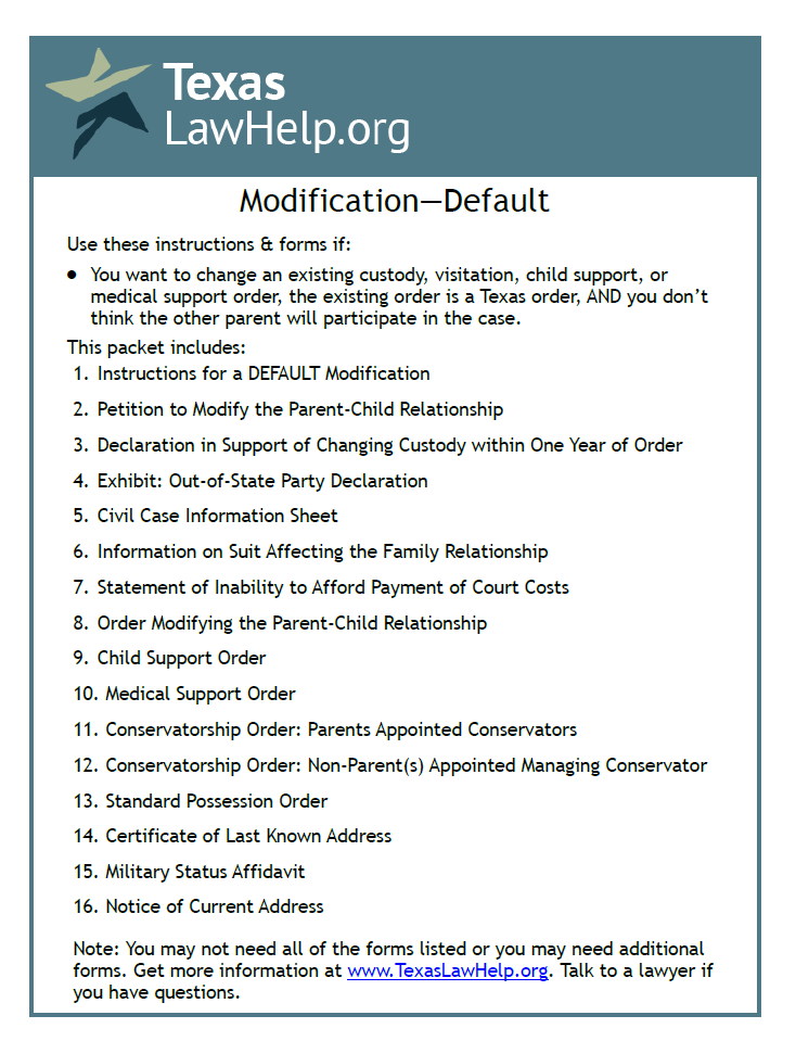 Click to view the Modification of Child Custody, Visition, Support - Default packet from TexasLawHelp