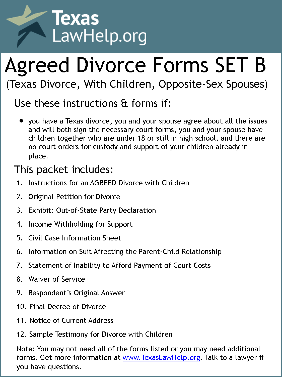 Click to view the Divorce Set B - Agreed packet from TexasLawHelp