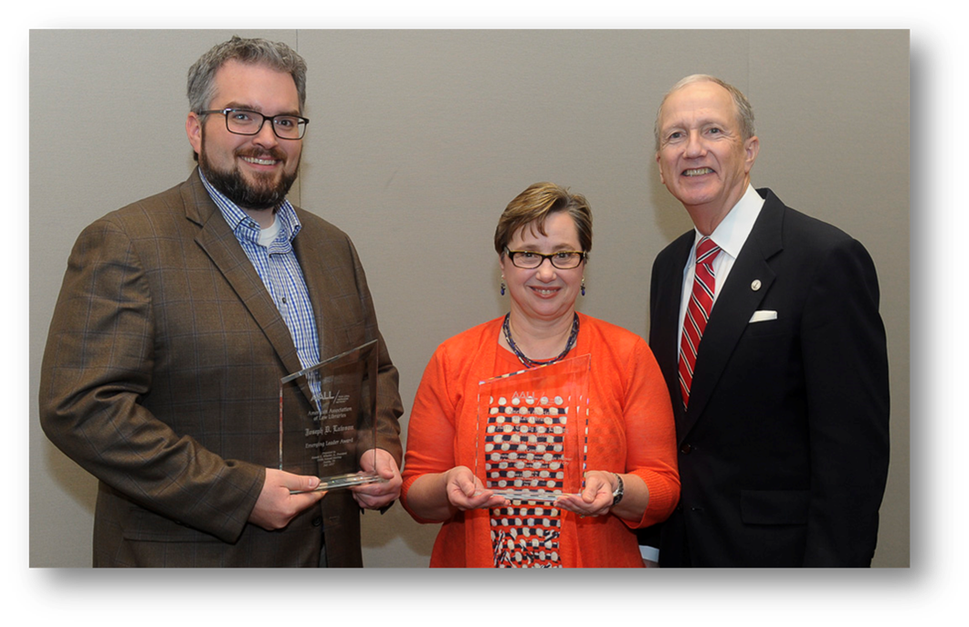 Law Library Nationally Recognized for Outreach  Law Library staff received back-to-back Excellence in Marketing Awards from the American Association of Law Libraries in 2016 and 2017 for our outreach efforts.