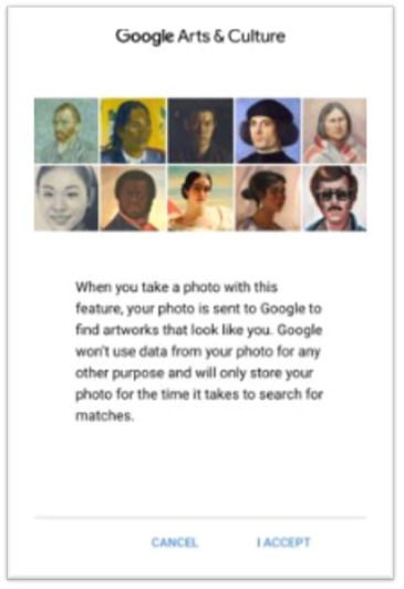 Google Arts and Culture app privacy statement regarding use of facial recognition data.