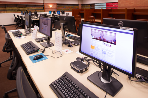 Study carrels in the computer area offer work space with privacy.