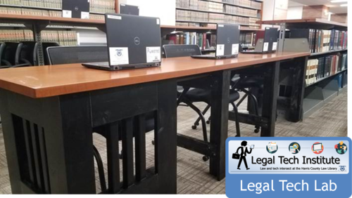 The Legal Tech Lab provides nine quiet work spaces tucked into the library stacks.