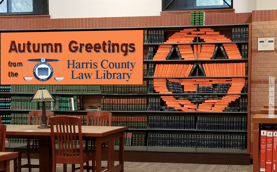 Autumn Greetings from the Harris County Law Library. Photo of Book O'Lantern #shelfie