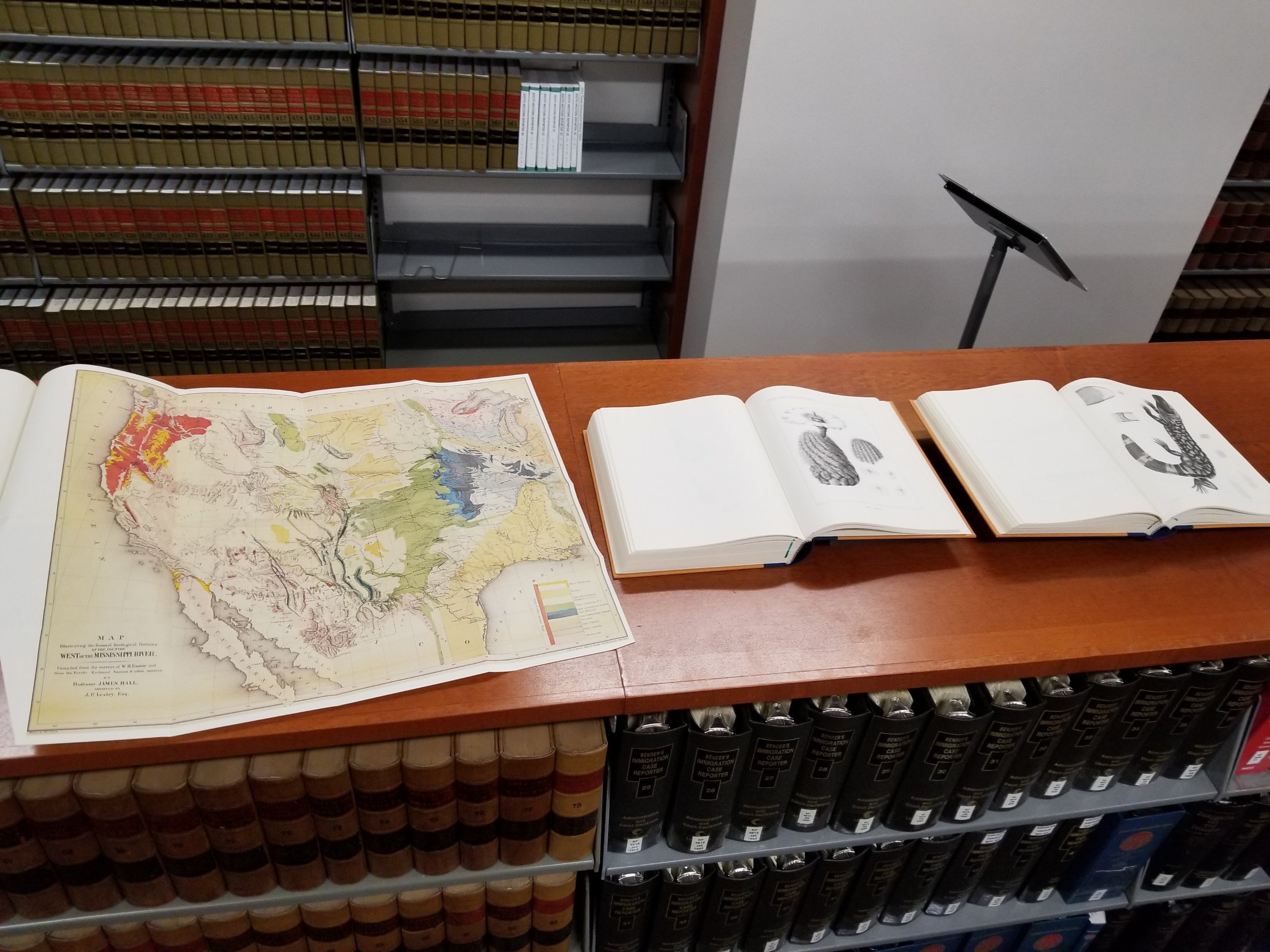 Photo of exhibit featuring the Harris County Law Library's The Law of Coahuila and Texas : An historical resource collection.  {Part II}
