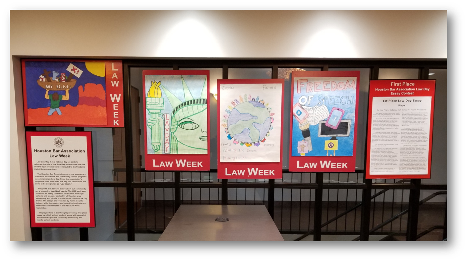 Houston Bar Association Law Week Poster Contest on Display at the entrance of the Harris County Law Library.