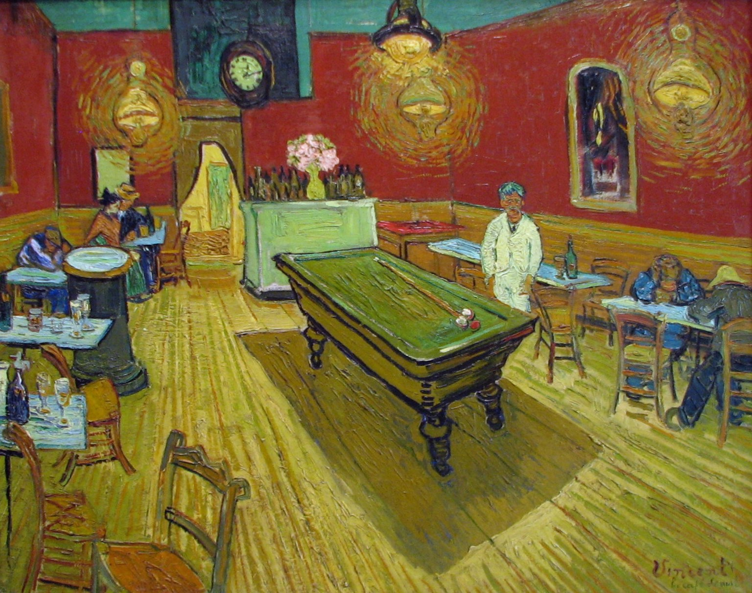 """I have tried to express the terrible passions of humanity by means of red and green. The room is blood red and dark yellow with a green billiard table in the middle; there are four lemon-yellow lamps with a glow of orange and green. Everywhere there is a clash and contrast of the most alien reds and greens, in the figures of little sleeping hooligans, in the empty dreary room, in violet and blue. The blood-red and the yellow-green of the billiard table, for instance, contrast with the soft tender Louis XV green of the counter, on which there is a rose nosegay. The white clothes of the landlord, watchful in a corner of that furnace, turn lemon-yellow, or pale luminous green.""  Vincent Van Gogh in a letter to his brother Theo, September 8, 1888."