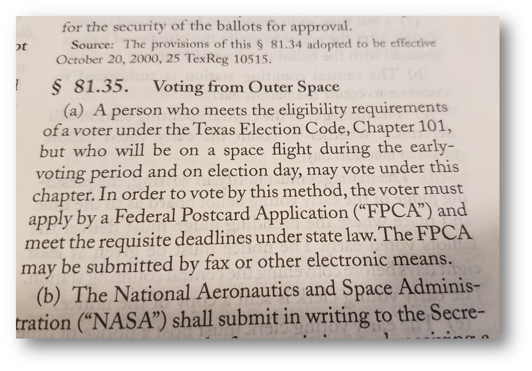 Photo of 1 TAC §81.35 (Voting from Outer Space)