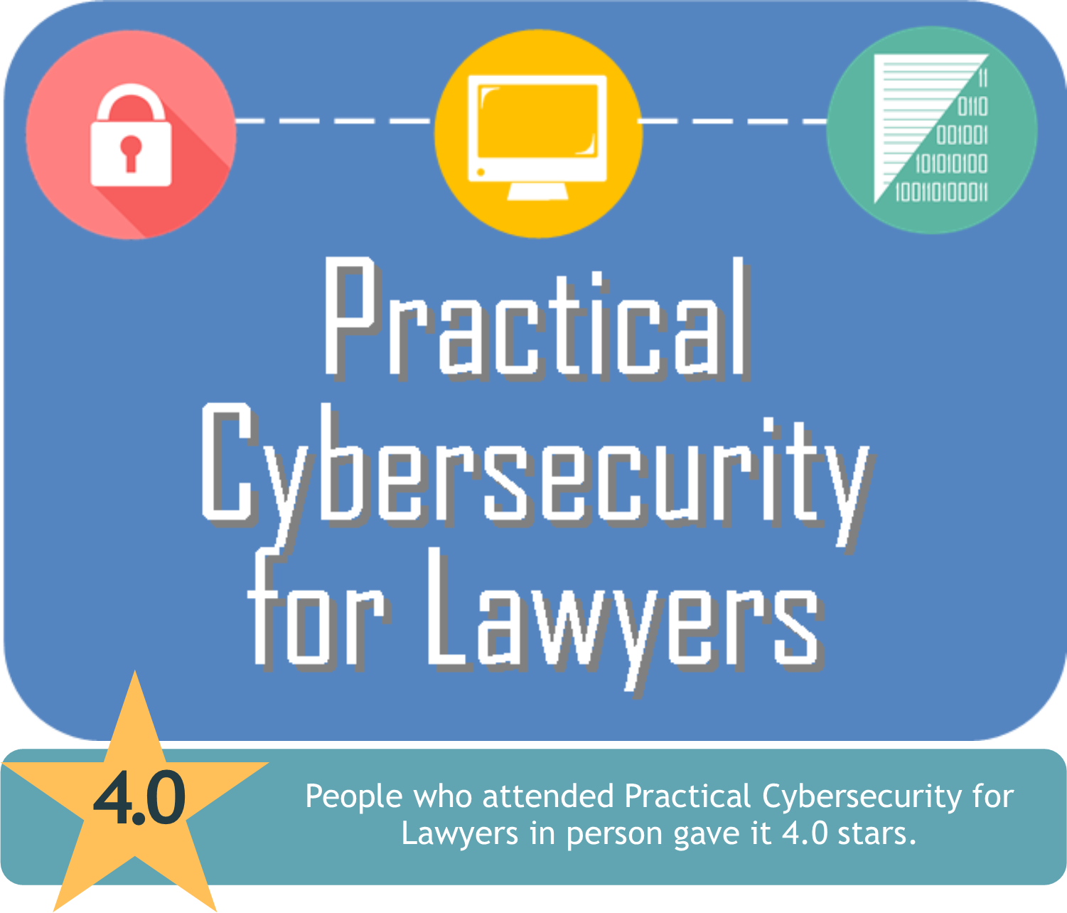 People who attended Practical Cybersecurity for Lawyers in person gave it 4.0 stars.
