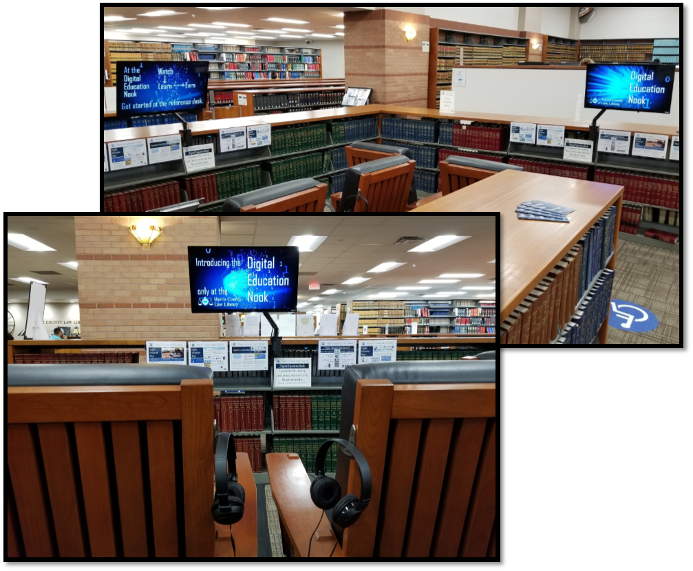 Image of the Digital Education Nook at the Harris County Law Library.