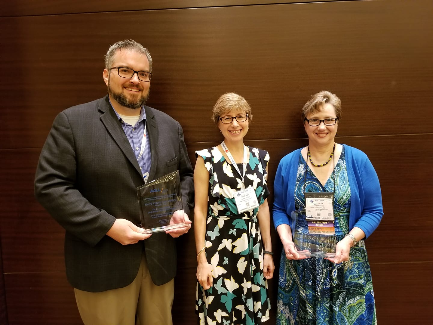 Law librarians from the Harris County Law Library receiving awards from the American Association of Law Libraries Government Section on Sunday, July 14.