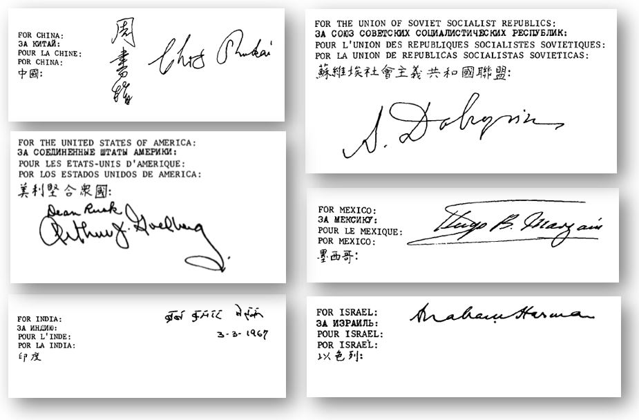 Displayed here are six of the original October 10, 1967 signatories: China, Soviet Union, Mexico, Israel, India, and United States