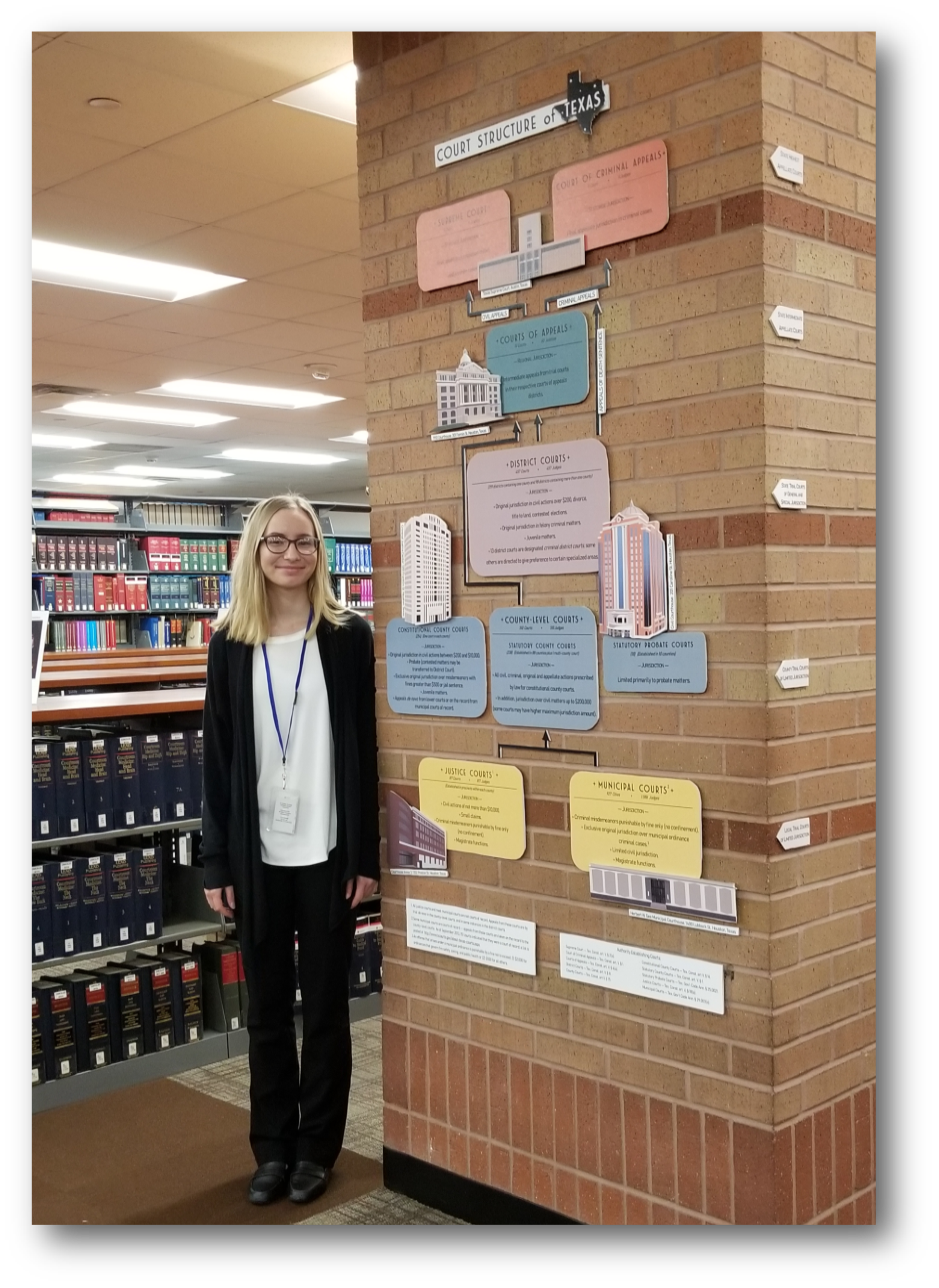 Helen Hartman (Harris County Commissioner Precinct One LEE Intern) poses next to her artwork at the Harris County Law Library.