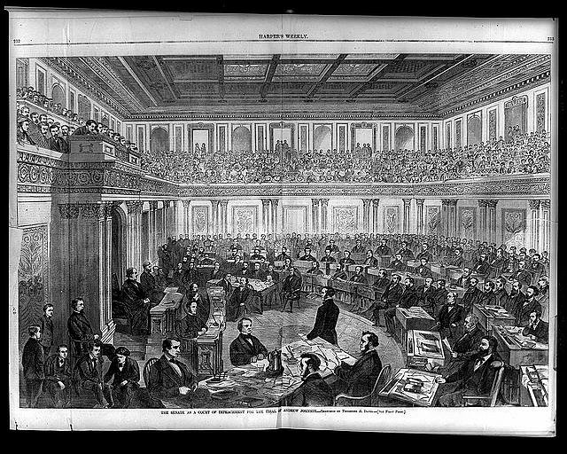 The Senate as a court of impeachment for the trial of Andrew Johnson / sketched by Theodore R. Davis. Library of Congress -  https://www.loc.gov/pictures/item/96521681/