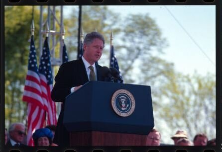 Bill Clinton speaks at the 1997 dedication of the Franklin Delano Roosevelt Memorial in Washington, D.C.,  available at   https://www.loc.gov/item/2011634166/