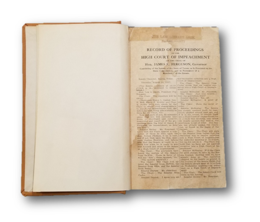 Record of Proceedings of the High Court of Impeachment on the Trial of Hon. James Ferguson, Governor.  from the collection of the Harris County Law Library.