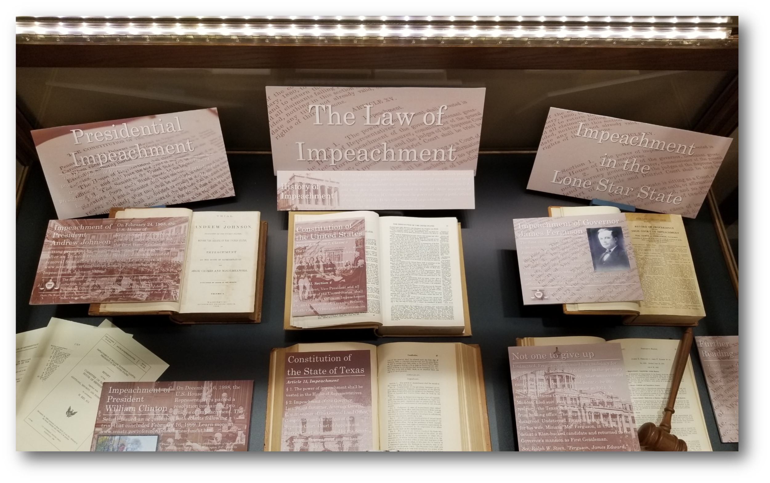 """The Law of Impeachment"" exhibit at the Harris County Law Library."