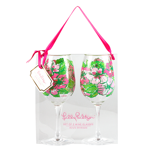 Lilly Pulitzer acrylic wine glasses in Big Flirt.  $25 for the set of 2.
