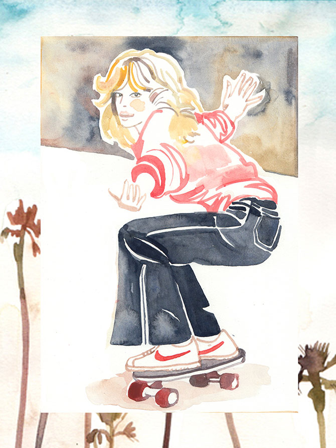 SEAFARER AND NATALIA RESMINI Italian brand Seafarer has called on surf girl illustrator Natalia Resmini to draw portraits of Seafarer's famous flares on some of the 1970s biggest icons: Farrah Fawcett, Brigitte Bardot and Jane Birkin.