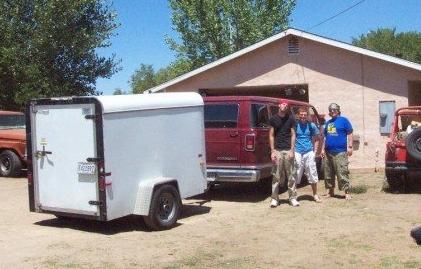 Our van broken down in Bishop, CA in July 2002.