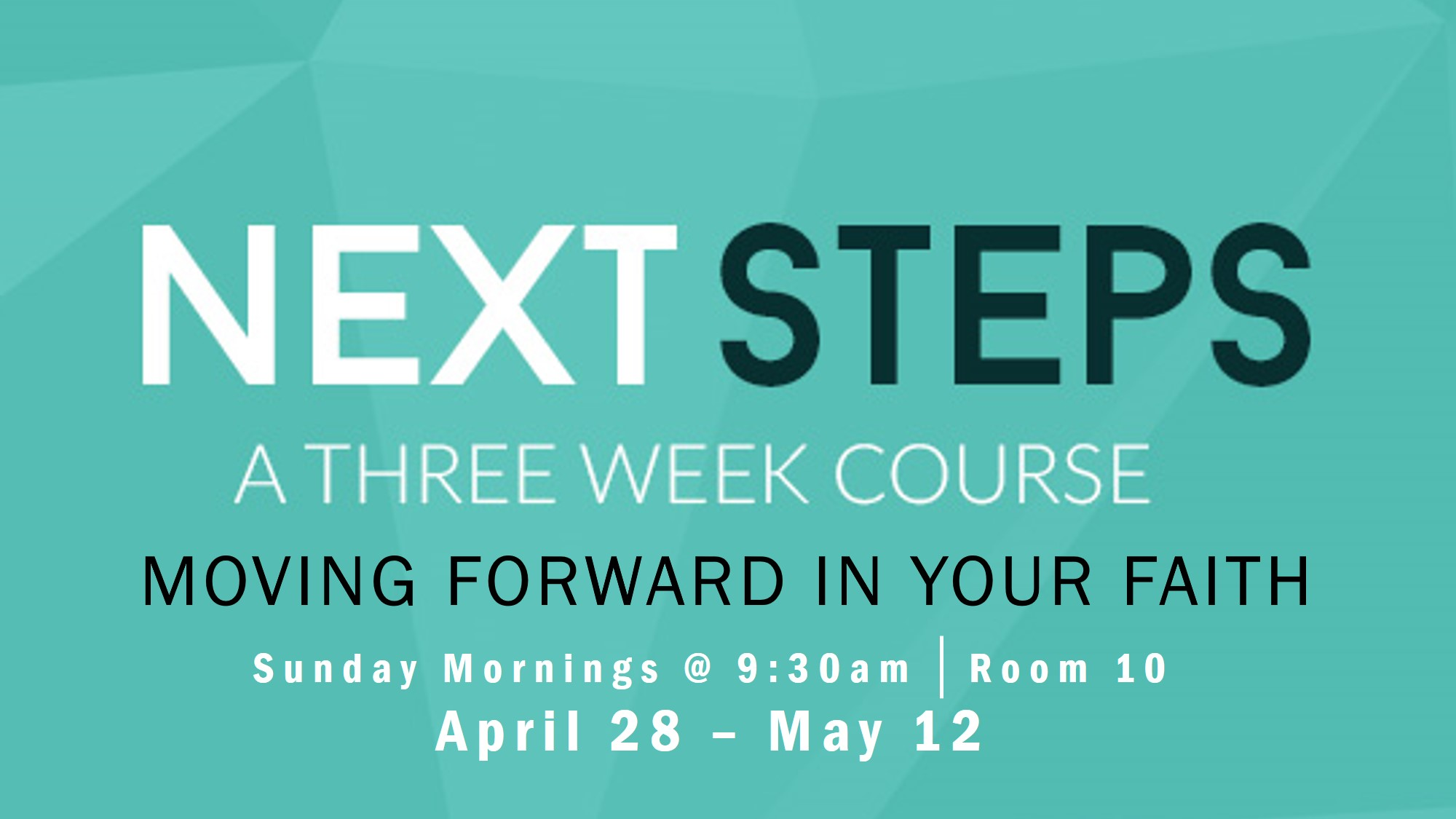 Next Steps  is a 3 week small group experience designed to give people the practical tools necessary to grow in their relationship with Jesus. Next Steps is also a safe and conversational environment that allows people to ask any faith questions they may have.   The Experience is design for two types of people: 1. Those who are new to their faith 2. Those who are renewing their faith