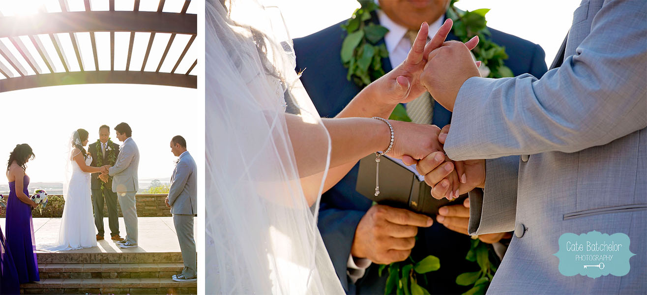 Bowing their heads in prayer, and exchanging their wedding vows and rings.