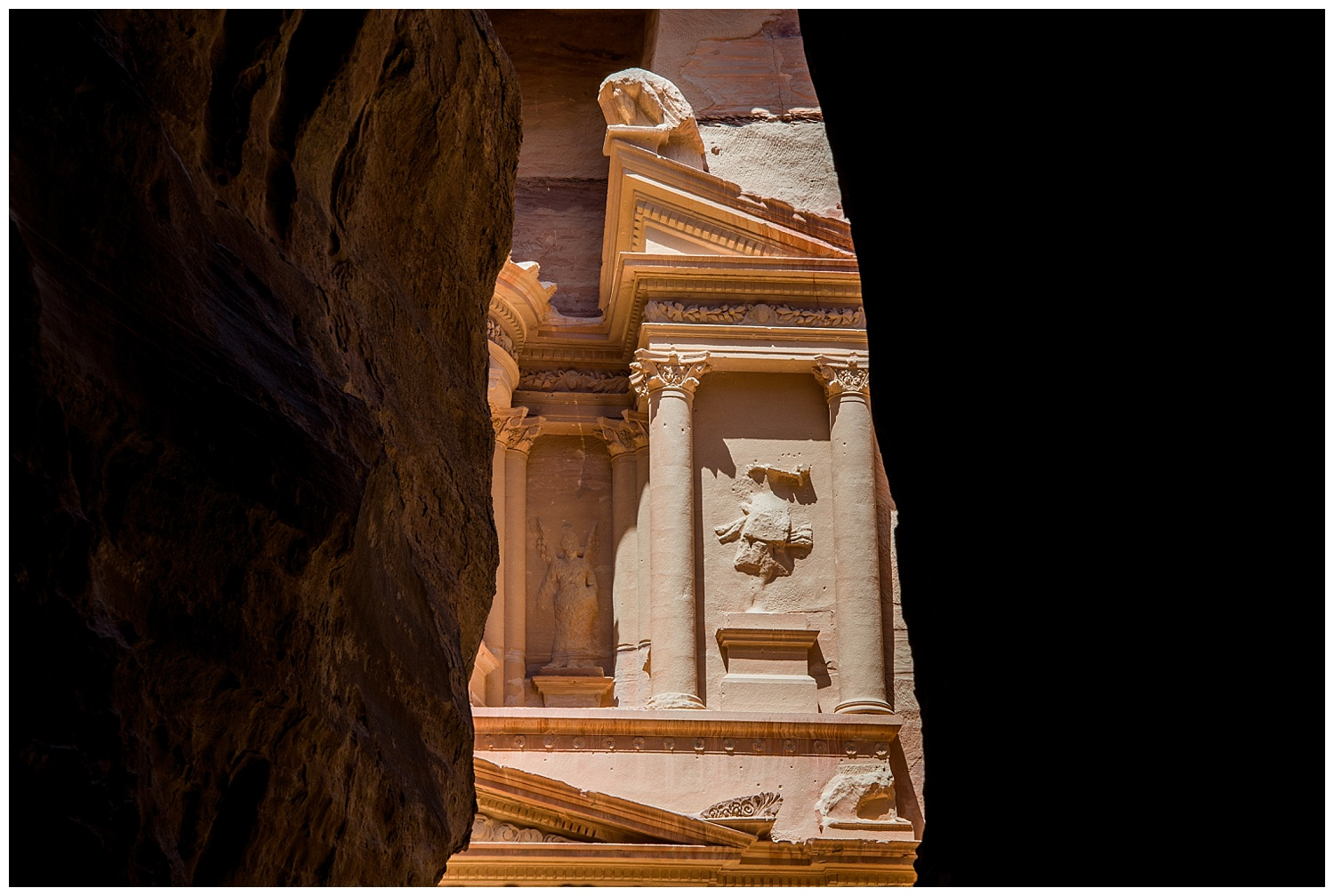 My first glimpse of the Treasury in Petra. Simply breath taking.