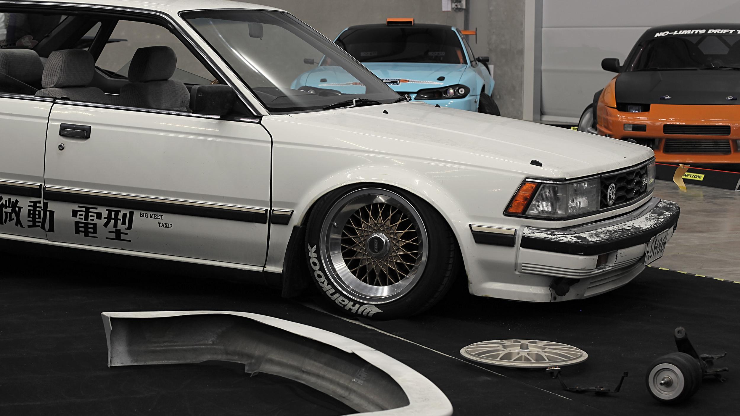 "Jani ""Sensei"" Mikkonen brought his -84 Nissan SSS Bluebird. Re-branded as the ""Big Meet Taxi""."