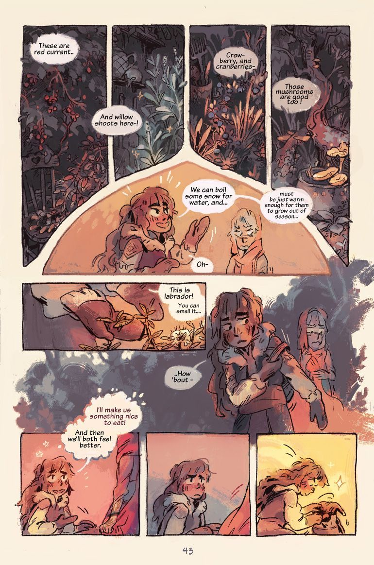 kochab-comic :   Page 43!    One of this last week's pages! This + next weeks pages are the scenes I feel best about from the whole comic so far.   They're pretty quiet and still, but feel like a step in the right direction of how I want to tell a story :')