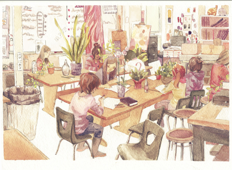 Calling it done for now…… @m@ Observation of the art room at school, mostly watercolor but painted over a bit more in PS!
