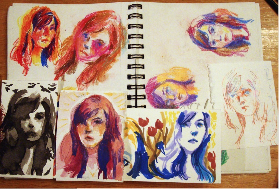 Studies from yesterday to figure out how to color my current project. Oil pastel, chalk pastel, black ink, watercolor, marker, completely dried out gel pens, and the 2 you have to tilt your head to see are crayon!