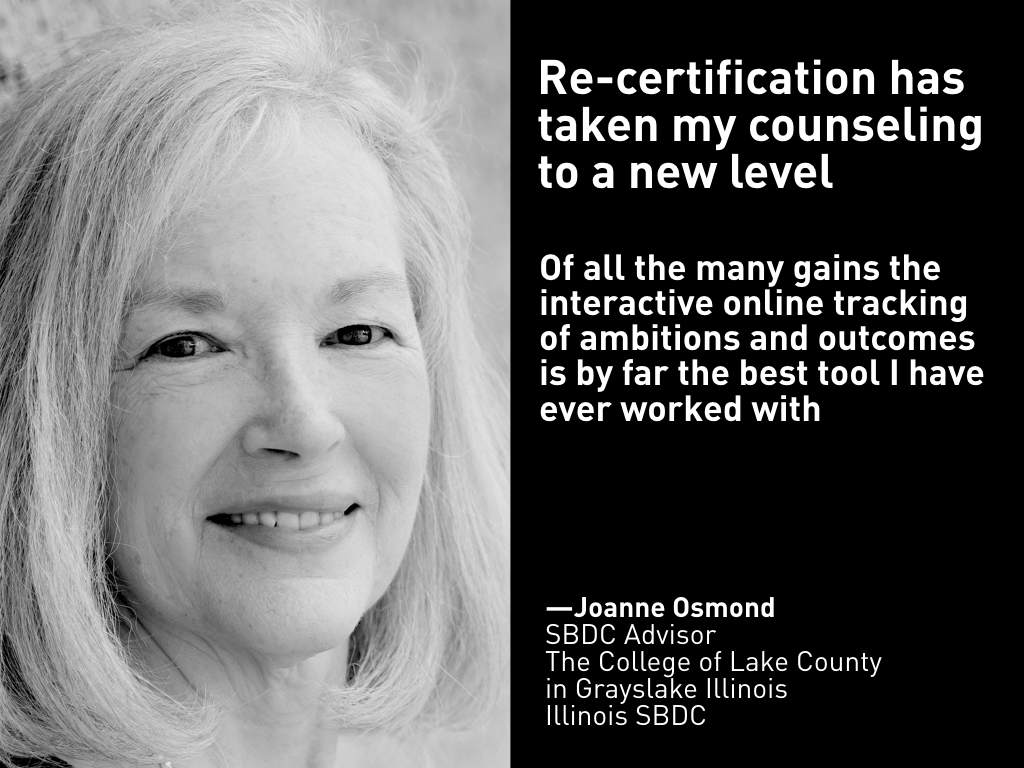 Testimonial, Joanne Osmond, Illinois SBDC at the College of Lake County in Grayslake Illinoi