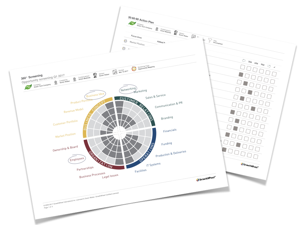 GrowthWheel Online - PDF reports