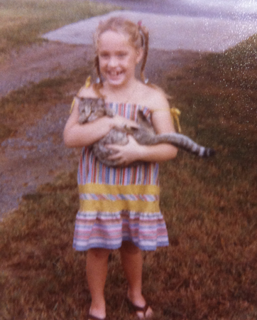 Ali with cat, summer of 1979.
