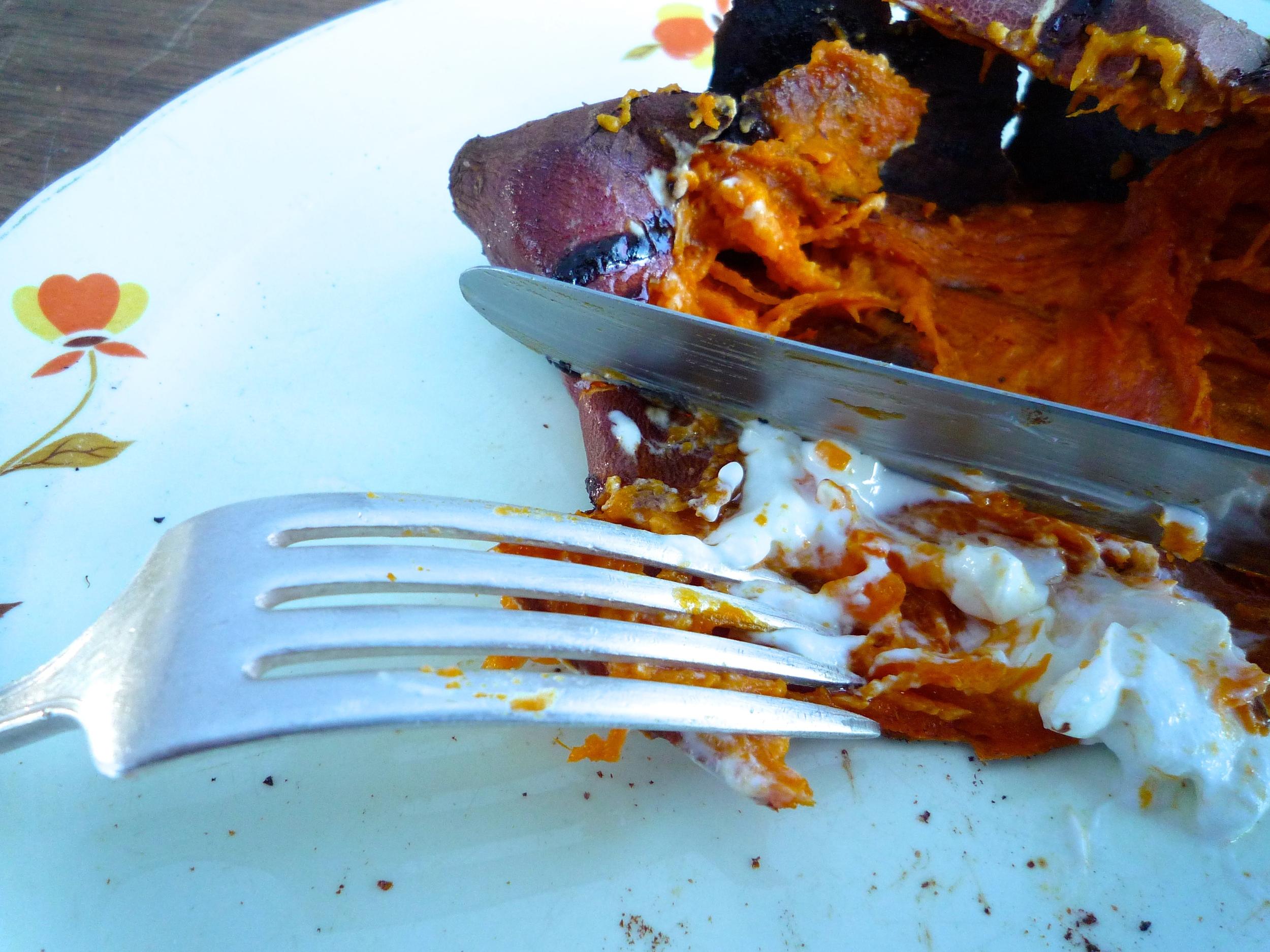 fig. d: baked garnet sweet potato 2: after