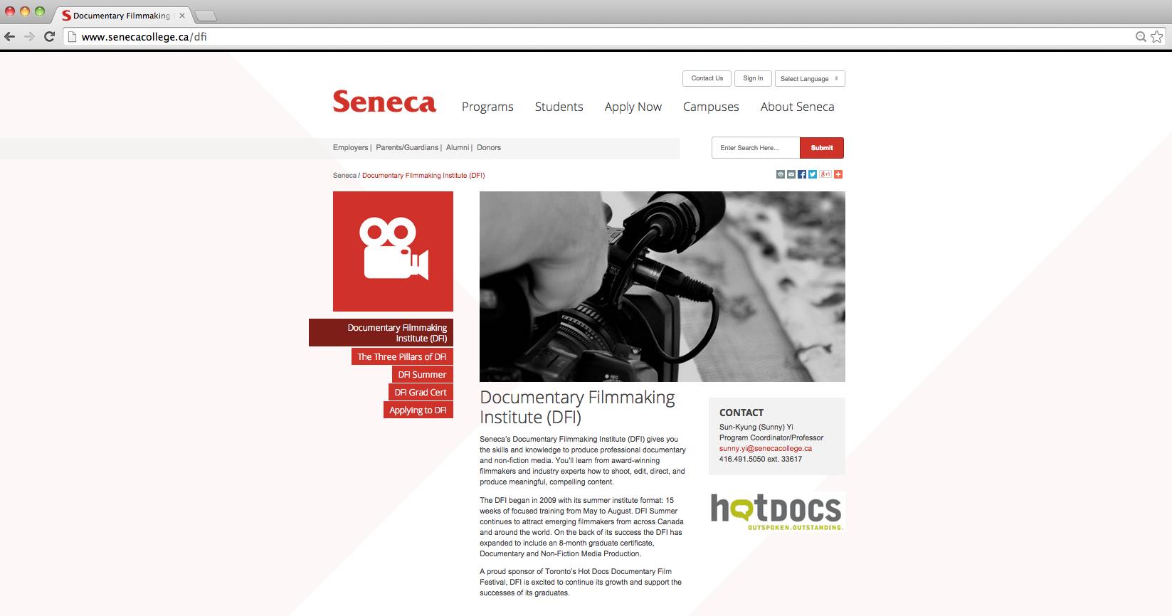 Seneca College Documentary Filmmaking Institute