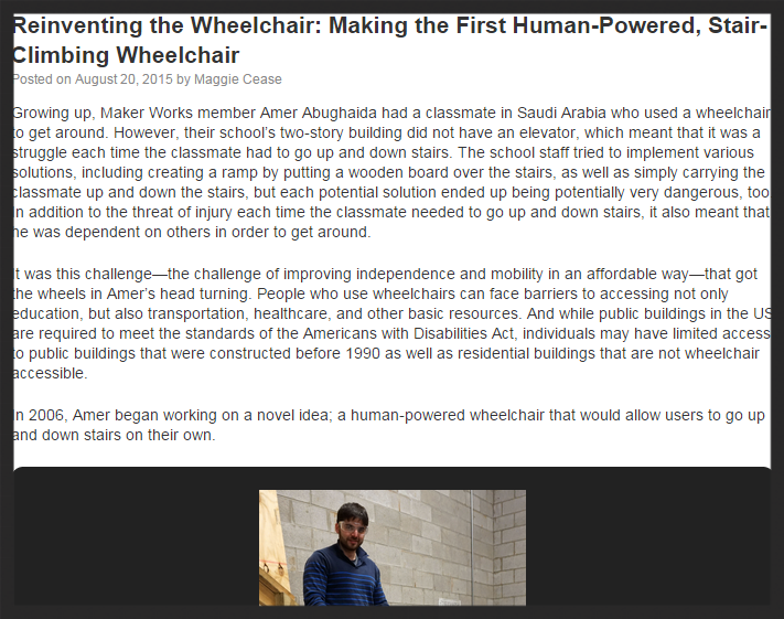 Founder, Amer Abughaida, was interviewed on what inspired him to create this wheelchair and where Pelico is today.