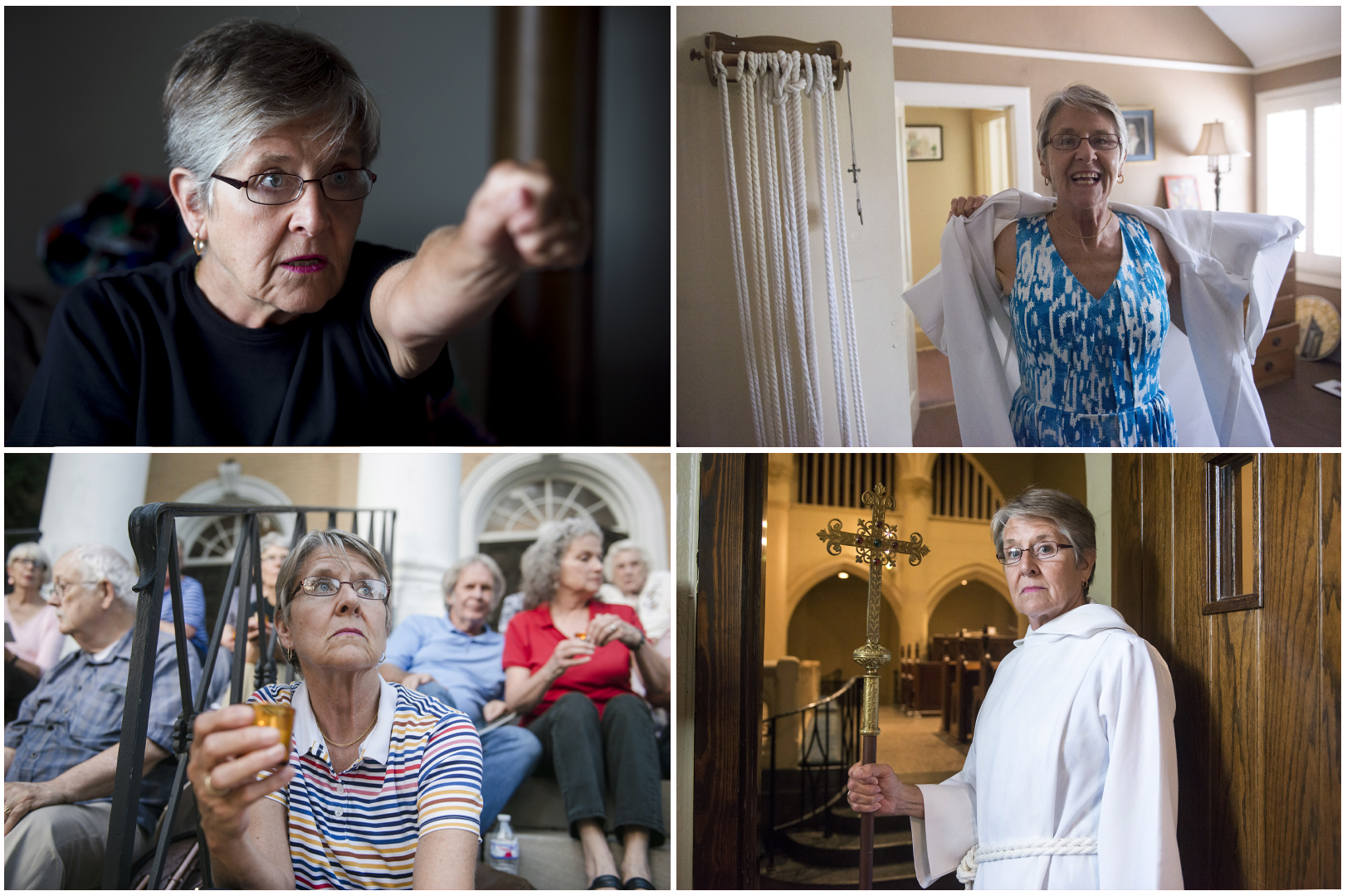 Rev. Elaine Blanchard - At her home describing police intimidation; before service at St. Mary's Episcopal Cathedral; and during an anti-death penalty vigil.