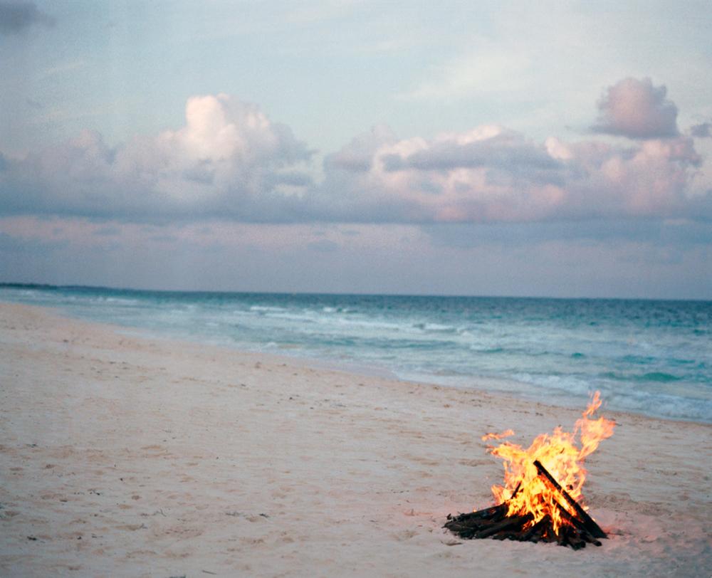 beach fire, tulum, 2005
