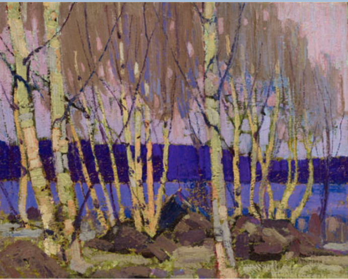 """Evening at Canoe Lake""     Art Gallery of Ontario, Public Domain. The Thompson Collection."