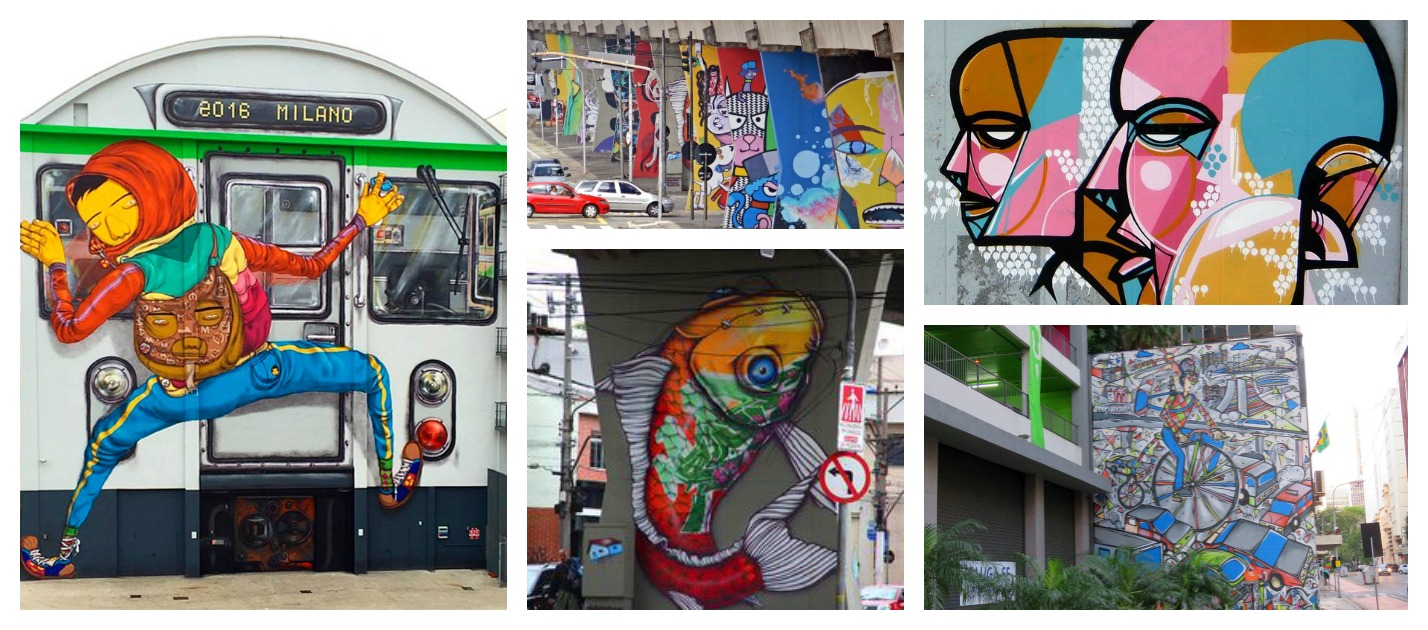Trains, Station columns, Public walls - all adorned with Graffiti Art
