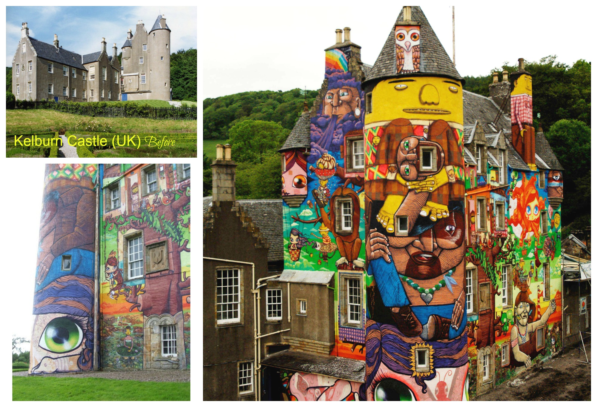 """In 2007, as part of a collaborative four person """"crew"""" from Sao Paulo, they created """"The graffiti project"""", covering parts of the kelburn castle in the united kingdom. The crew included Nina pandolfo (wife of Octavio)and   Francisco Rodrigues da Silva."""