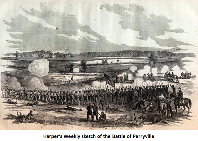"MacArthur and his regiment soon had their inaugural exposure to hostile fire, ""seeing the elephant"" at Perryville, Kentucky in October 1862."