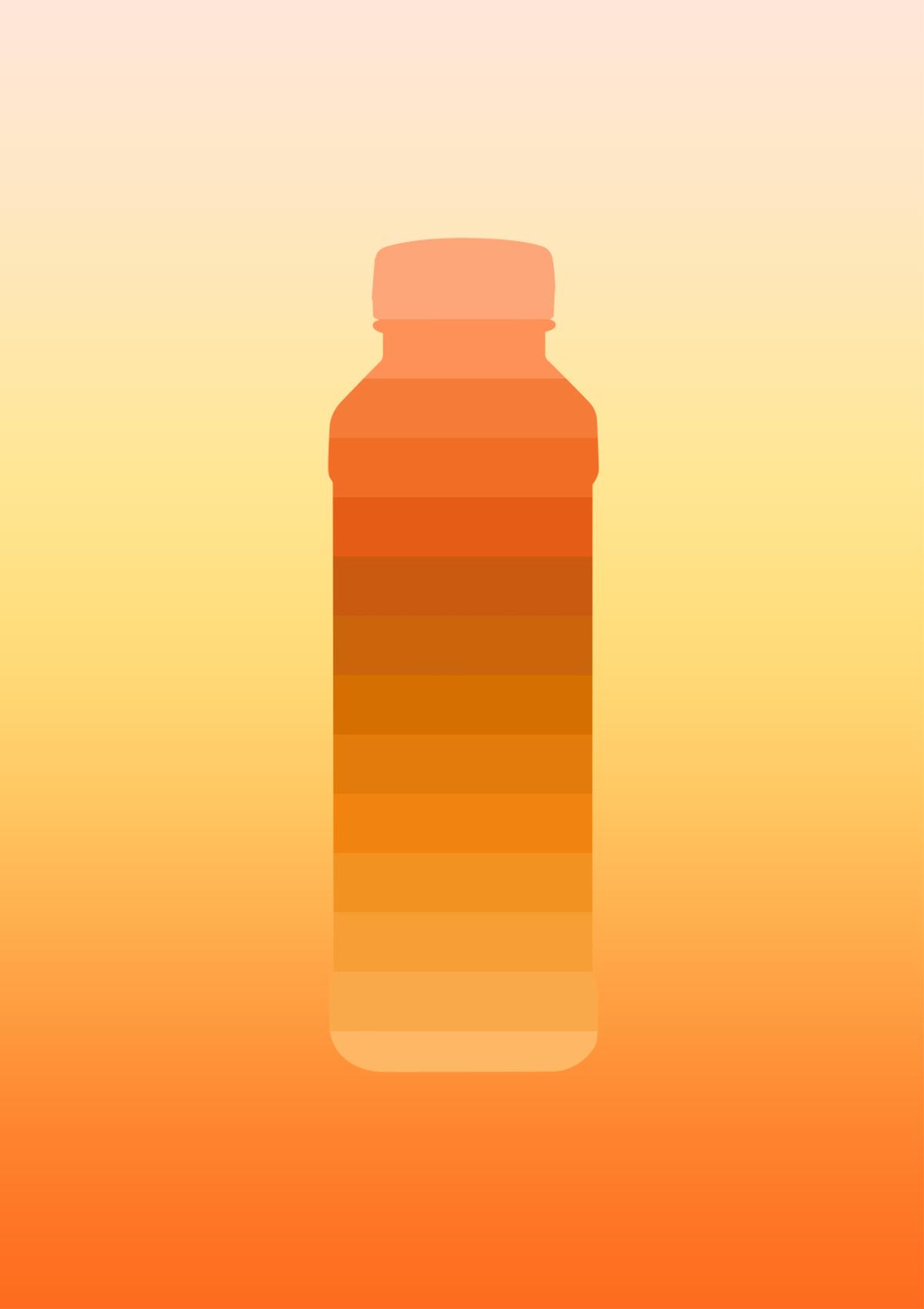 Carrots & Curcuma juice bottle / Illustrations - illustration of a gradient juice bottle inspired by carrots and curcuma