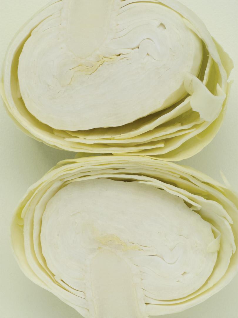 white cabbage halves