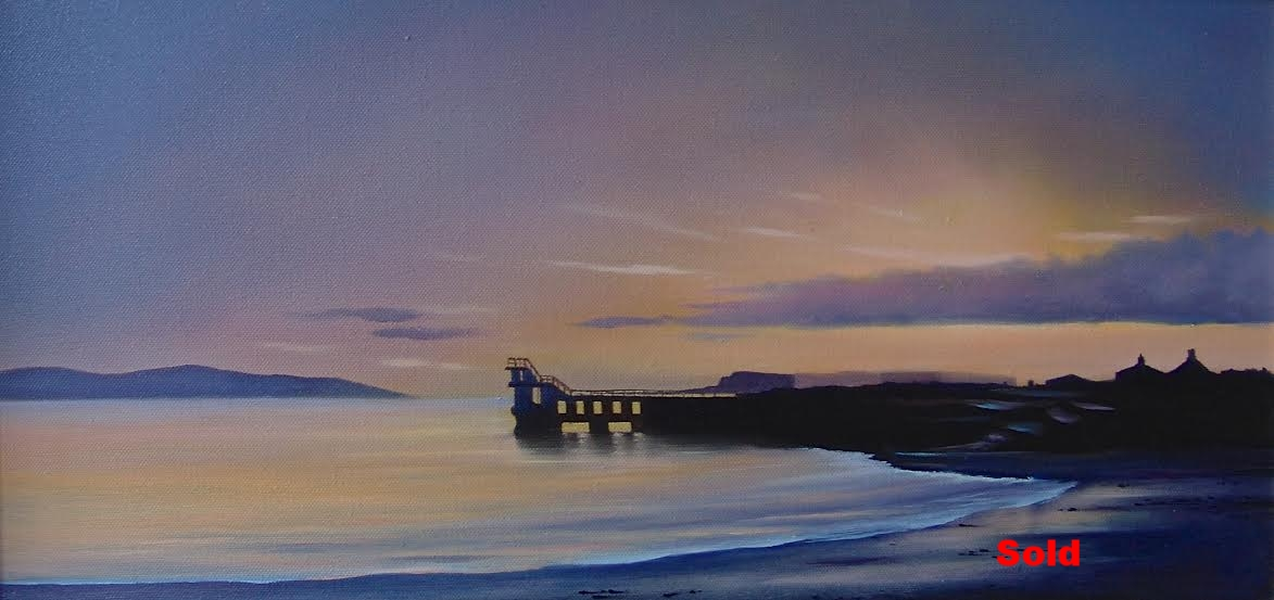 'Sunset at Blackrock' Salthill, Co Galway.  Oil on Canvas