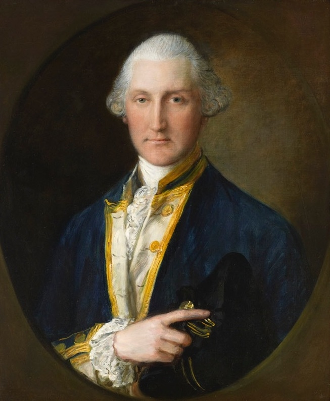 Thomas Gainsborough R.A (1727-1788)    Portrait of Lord William Campbell, M.P.,  last British Governor of South Carolina  half-length, in Naval Uniform, holding a Bicorne, feigned oval