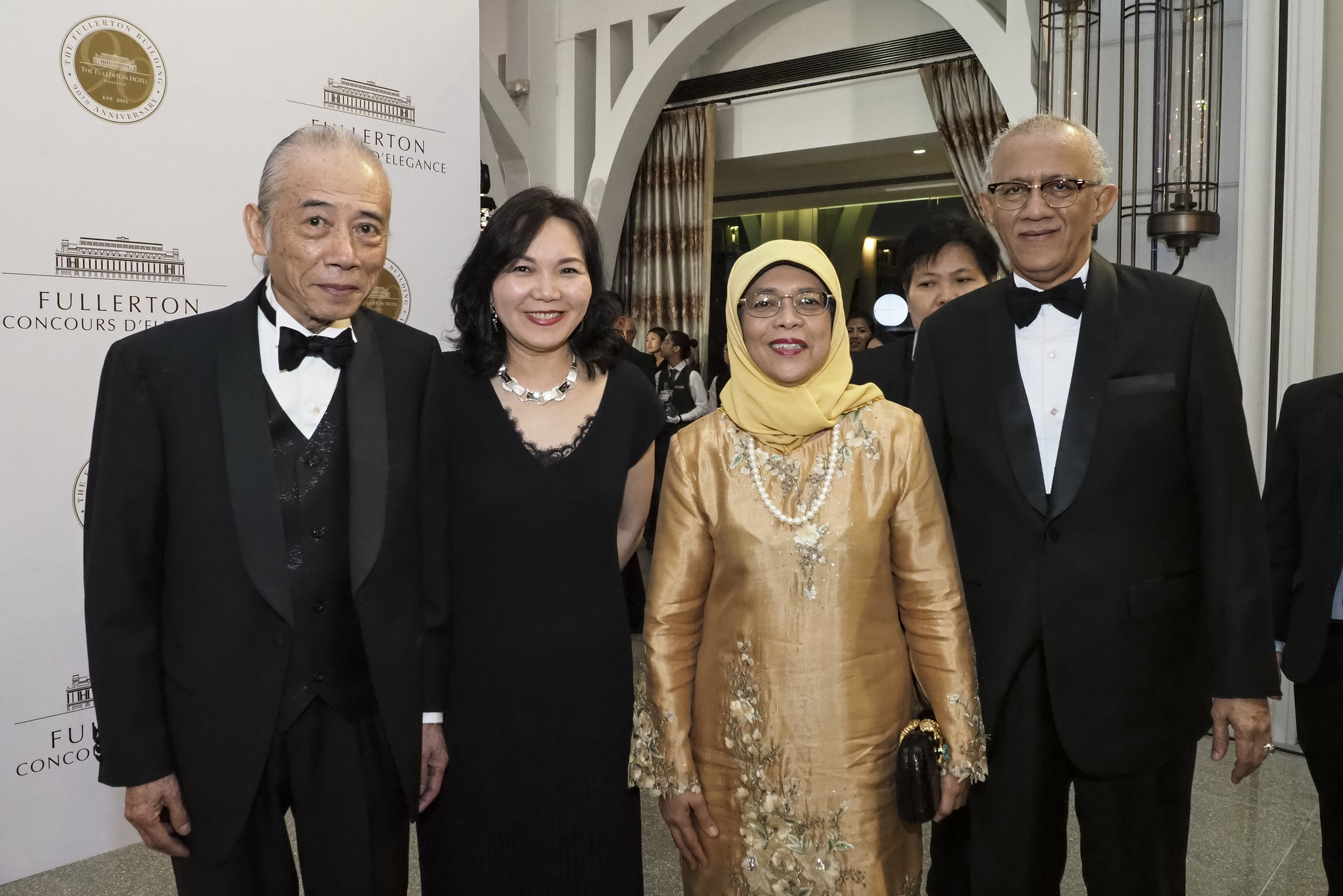 Mr. Daryl Ng, Ms Jenny Zhu, President Halimah Yacob and husband Mohamed Abdullah Alhabshee