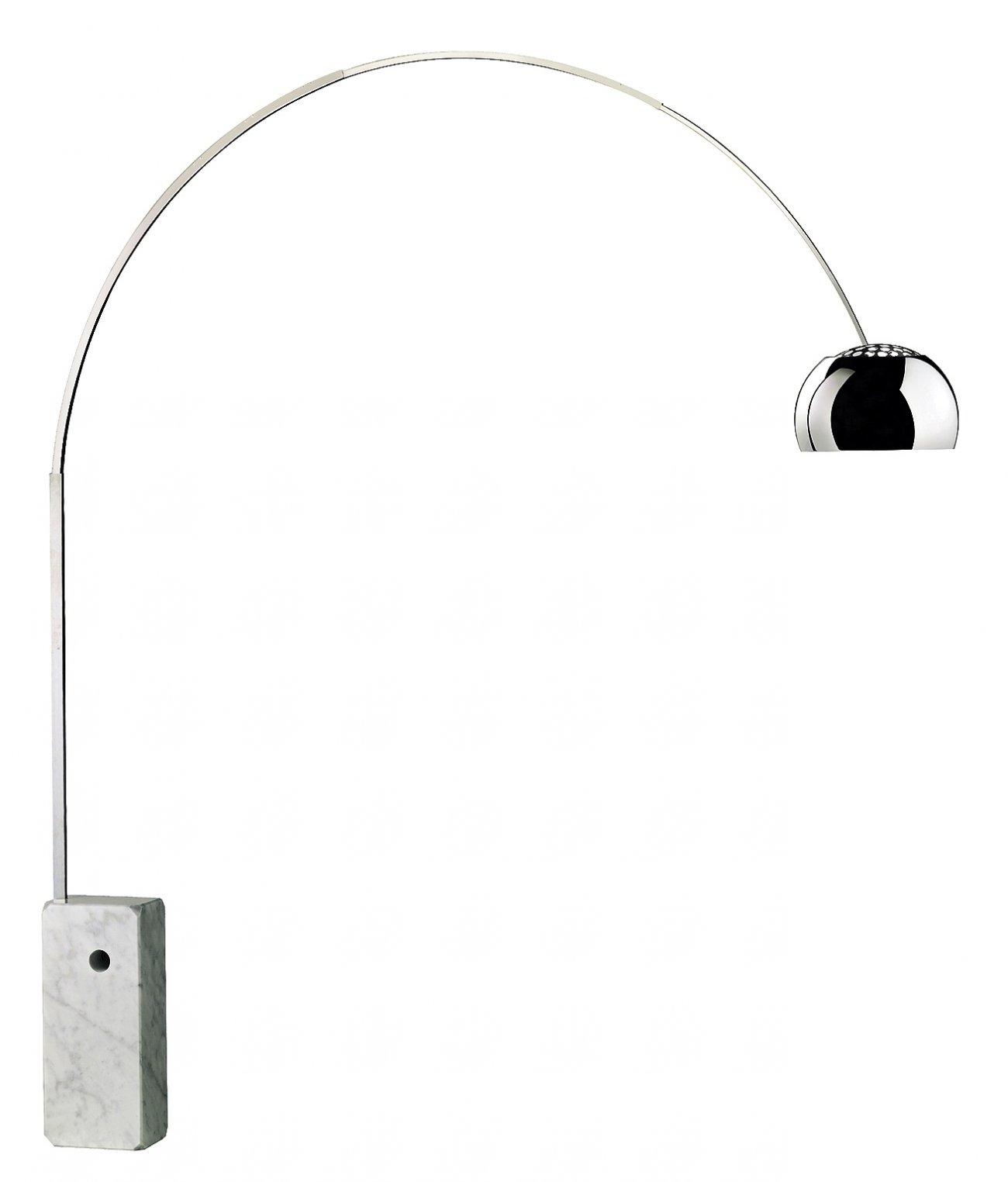 Arco  FLOS Golvlampa från 1962. Design Achille & Pier Castiglioni H 232 cm B 220 (som mest)Vikt fot 60 kg   Lagerstatus: Ej i lager.